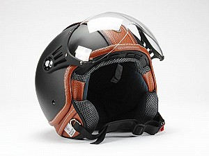 CASQUE BNO PILOT MATT NOIR MARRON JET MC OP01-PL26