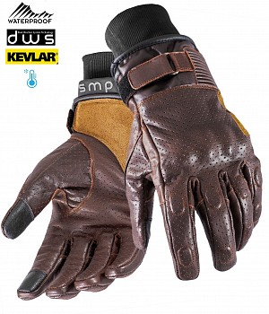 GANTS KEVLAR WATERPROOF MC MARRON VINTAGE RIDER DOUBLE TEMPS