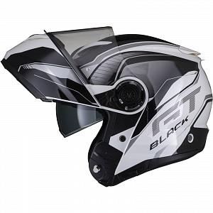 Noir Optimus II Infinity Flip Front Gloss Black White 53091503 Casque mc avec ouverture