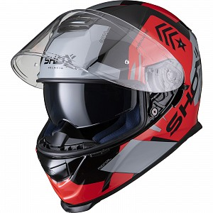 SHOX ASSAULT EVO RECOIL NOIR / ROUGE CASQUE MOTOCYCLETTE 0203