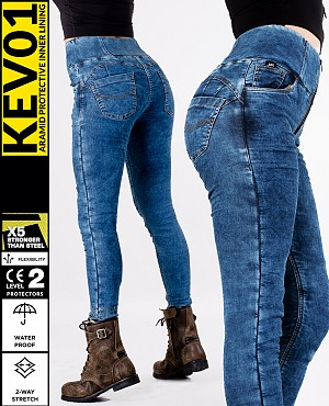 LADY KEV01 DENIM LEGGINGS DIRTYBLUE WASSERDICHT MC BYXA WP12