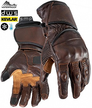 DUAL WEATHER TOURMAX BROWN VINTAGE KEVLAR WATERPROOF MC HANDSKAR