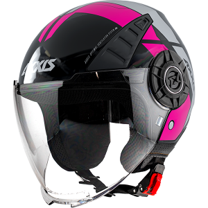 AXXIS OF513 METRO COOL B8 LUNETTES ROSE FLUOR GLOSS JET MC CASQUE