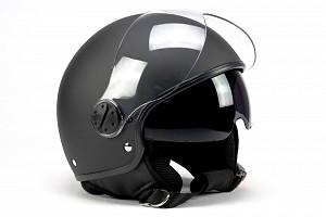 Casque BNO JET 8 RETRO MATT NOIR SUNVISOR JET MOTORCYCLE