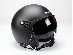 CASQUE BNO PILOT OPEN FACE MATT NOIR JET MC OP01-M