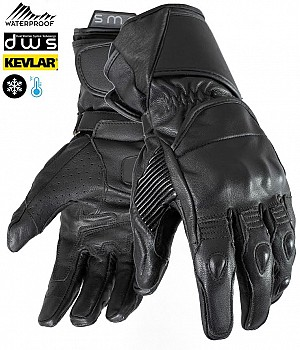 DUAL WEATHER TOURMAX BLACK VINTAGE KEVLAR WATERPROOF MC HANDSKAR