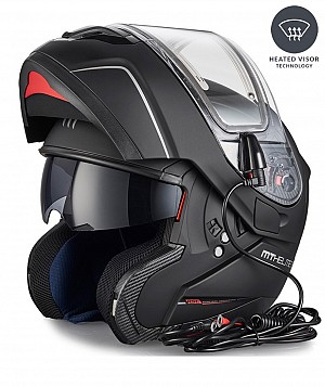 MT ATOM FLIP-UP ELECTRIC HEAT MATT BLACK Casque moto ouvrable W10570003