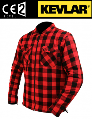 CHEMISE MOTOCYCLETTE PROTECTIONS CE KEVLAR CE PROTECTEURS ATA FLANELL ZIPPER 2655
